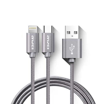 Awei CL-984 1M Lightning + Type-C 2-in-1 Connector (Gray)