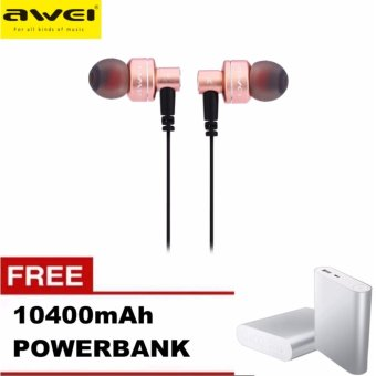 Awei ES-10TY 3.5MM Super Bass Noise Isolation In-ear Earphones(Rose Gold) with Free 10400mAh Power Bank Price Philippines