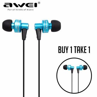 AWEI ES900i Super Bass Noise Isolating In-Ear Monitors with Carrying Case (Blue) (Buy 1 Take 1)