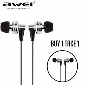 AWEI ES900i Super Bass Noise Isolating In-Ear Monitors with Carrying Case (Silver) (Buy 1 Take 1)