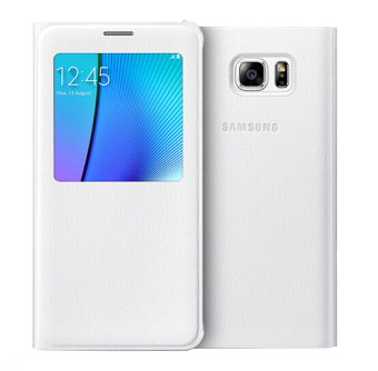 Back Housing Flip Smart View Window Leather Cover Case for SamsungGalaxy Note 5 N9200 (White)