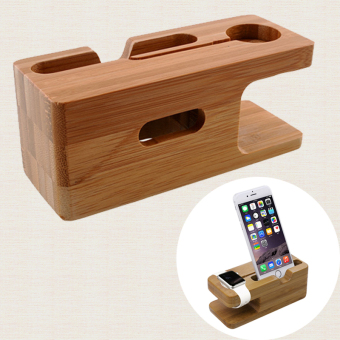 Bamboo Wood For Apple Watch iWatch iphone Stand Charging StationBracket - 5