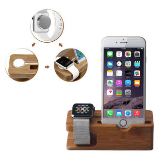 Bamboo Wood For Apple Watch iWatch iphone Stand Charging StationBracket