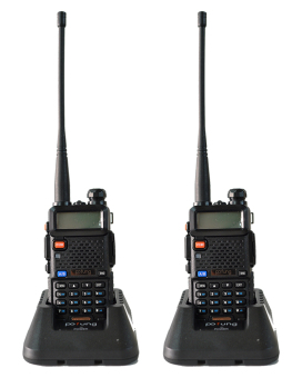 Baofeng / Pofung UV5R VHF/UHF Dual Band Two-Way Radio Set of 2 (Black) with earpiece