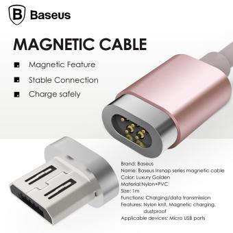 BASEUS 1M 2.4A Micro USB Magnetic Charging Cable for Samsung S7etc. - Rose Gold - intl Price Philippines