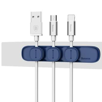 BASEUS Peas Magnetic Cable Clip USB Cable Holder Wire Organizer - Blue - intl