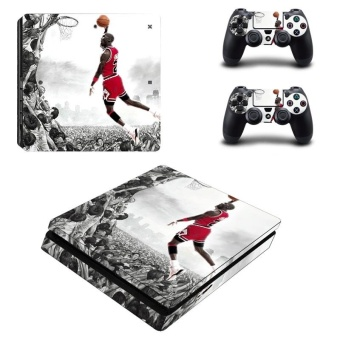 Basketball Superstar Vinyl Skin Sticker for Sony Playstation 4 SlimPS4 Slim Console & 2pcs Controller Protection Film StickersYSP4S-0640 - intl