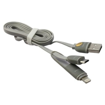 Bavin 2-in-1 USB Data Cable with Lightning Adaptor (Grey)