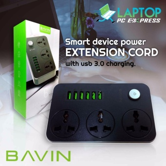 Bavin 2017 power strip 3 socket extension cord with 6 usb port maxcharge