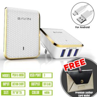 Bavin 3.4A Quick Charger 3-USB Ports + FREE Bavin Leather CardWallet