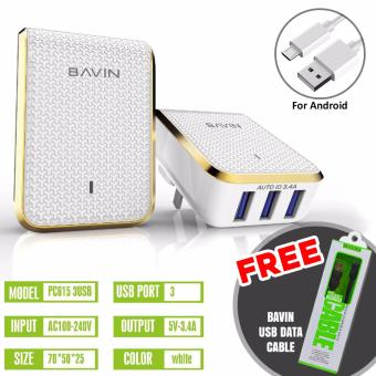 Bavin 3.4A Quick Charger 3-USB Ports + FREE USB CABLE Price Philippines