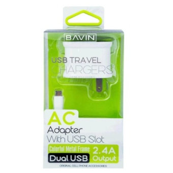 BAVIN 727-5P Dual USB Slot Adapter CHARGER For Android smartphonesWITH Cable