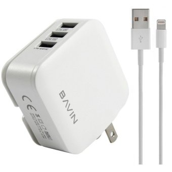 Bavin C-CA221 3-Ports USB Fast Charger for iPhone 5s (White)