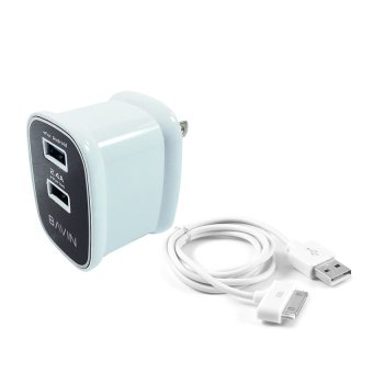 Bavin C11 Dual USB Slot 2.4A Quick Charger Travel Adapter with 30-Pin Cable for Apple iPhone/iPad/iPod (White)