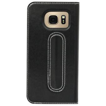 Bavin Leather Flip Cover Case for Samsung S7 (Black) - 2