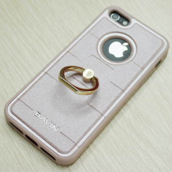 Bavin Leather/TPU Case with Ring Holder for iPhone 5/5s/5SE (RoseGold)