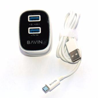 Bavin PC727 Dual USB Slot 2.4A Quick Charger Travel Adapter for Andriod (White)