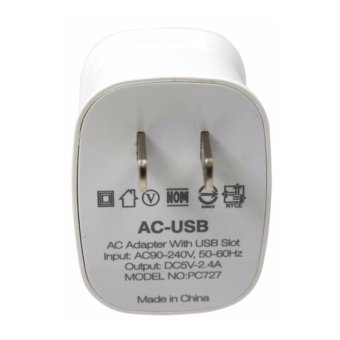 Bavin PC727 Dual USB Slot 2.4A Quick Charger Travel Adapter forAndroid (White) - 4