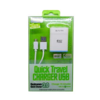 Bavin Qualcomm Quick 3.0 Fast Charger for Android (White)