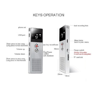 BENJIE M23 8GB Digital Voice Recorder 20m Professional AudioRecorder Portable One Key Recorder (Silver) - intl - 4