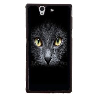 Black Cat Kitty Pattern Phone Case for Sony Xperia Z L36H (Black)