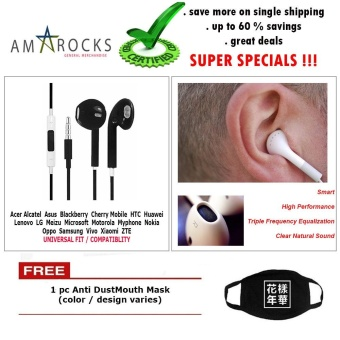 Black Stereo Earphone Smart Power Equalization with Mic for CherryMobile Phone Model (All Model Compatible)