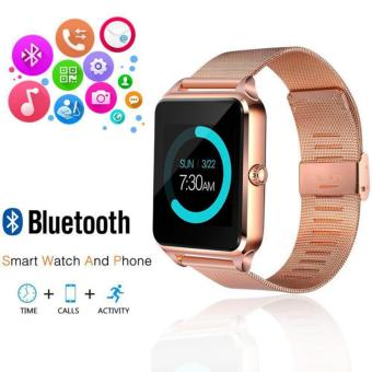 Bluetooth Smart Watch Phone Stainless Steel for IOS Android (Gold)