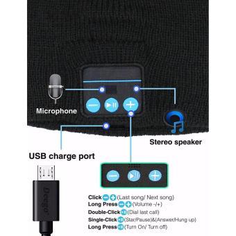 Bluetooth Wireless bonnet Music with Stereo Speakerphone HeadsetEarphone Speaker Mic Phone Call-Dark Grey - 3
