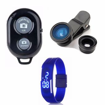 Bluetooth Wireless Remote Control Camera Shutter Release for iOS /Android Phones(black) with Camera Lens Color May Vary with LedWatch Color May Vary