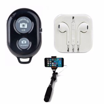 Bluetooth Wireless Remote Control Camera Shutter Release for iOS /Android Phones(black) with Headset whiite with 1188 Monopod