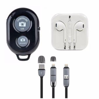 Bluetooth Wireless Remote Control Camera Shutter Release for iOS /Android Phones(black) with Headset White with 2 in 1 USB Cord ColorMay Vary