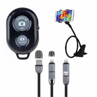 Bluetooth Wireless Remote Control Camera Shutter Release for iOS /Android Phones(black)with Lazypod Color May Vary with 2 in 1 USBCord Color May Vary