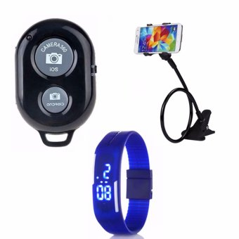 Bluetooth Wireless Remote Control Camera Shutter Release for iOS /Android Phones(black)with Lazypod Color May Vary with Led WatchColor May Vary