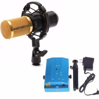 BM-800 Condenser Sound Recording Microphone with Shock Mount for Radio Braodcasting (Black) WITH Voice-Activated LED Crystal Mini Laser Stage Lighting