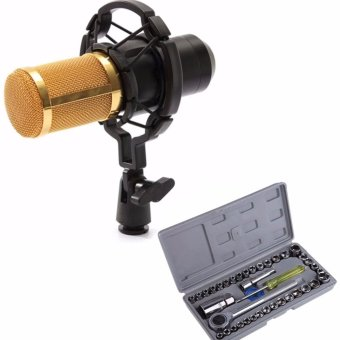 BM-800 Condenser Sound Recording Microphone with Shock Mount forRadio Braodcasting (Black) WITH Aiwa Combination Socket Wrench40-piece Set