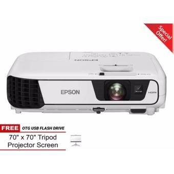 BNEW Epson EB-S31 Projector w FREE Tripod Screen and 16GB Sandisk Flash Drive