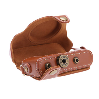 Brown PU Leather Camera Bag Case for Sony RX100 RX100M2 - 5