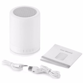 BT-1035 Wireless Bluetooth Speaker with Smart Touch LED Lamp(White) - 2