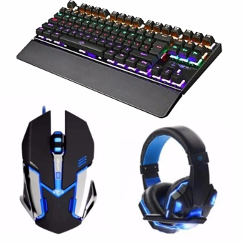 (BUNDLE)87Keys Backlight Mechanical Gaming Keyboard and st-18 mouseand led bass headset