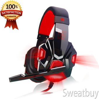 [Buy 1 Get 1 Free Gift] Noise Cancelling Stereo Gaming Headphone with Mic Wired Headsets Red - intl