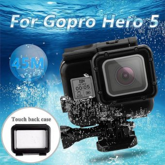 BUYINCOINS For Gopro Hero 5 Accessories 45m Waterproof Hoursing Case with Touch Black Cover - intl