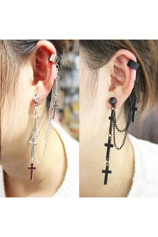 Buytra Ear Wrap Rock Punk Crosses Tassel Chain Black
