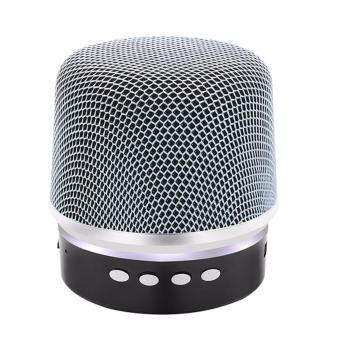 BY1030 Microphone Shape Music Bluetooth Changing Color Speaker With Subwoofer Loudspeaker (Silver) - 3