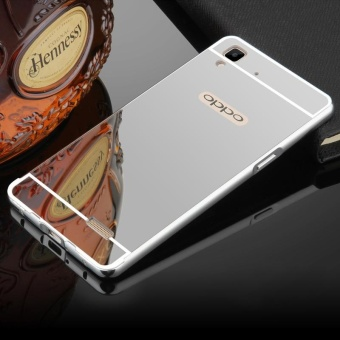 BYT Electroplated Metal Bumper Mirror Back Cover Case for Oppo R7s- intl