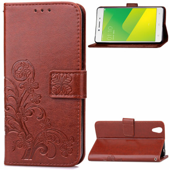 BYT Flower Debossed Leather Flip Cover Case for Oppo A37 (Brown)