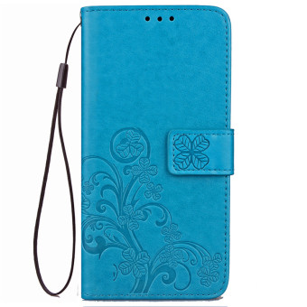 BYT Flower Debossed Leather Flip Cover Case for Samsung Galaxy J72016 (Blue)