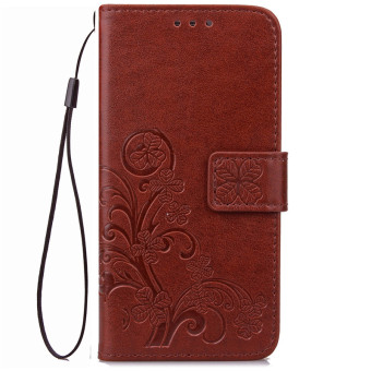 BYT Flower Debossed Leather Flip Cover Case for Samsung Galaxy J72016 (Brown)