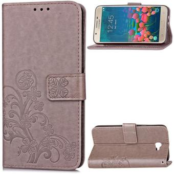 BYT Flower Debossed Leather Flip Cover Case for Samsung Galaxy J7Prime - intl