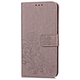 BYT Flower Debossed Leather Flip Cover Case for Sony Xperia XA(Grey) - 2