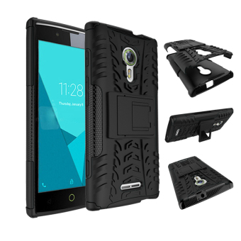 BYT Rugged Dazzle Case for Alcatel One Touch Flash 2 with Kickstand (Black)